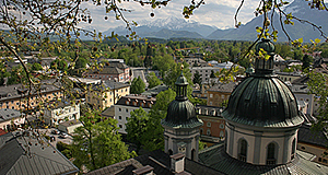 The Erhardkirche is a Baroque church with a great view into the Alps.