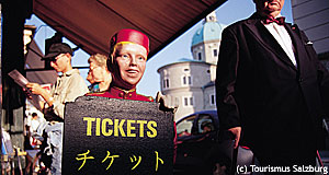 Many hotels offer the opportunity to buy tickets for the Salzburg Festival at the reception.