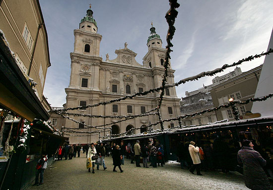 The Salzburger Dom Cathedral and the famous Christmas Market in front of it
